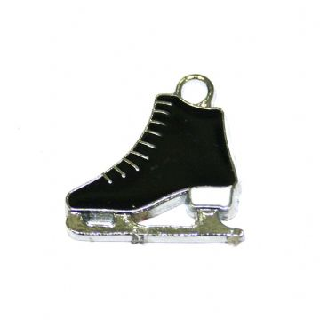 1pce x 20*17mm Rhodium plated black ice skate boot enamel charm - SD03 - CHE1085